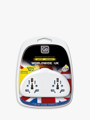 Go Travel Duo USB World to UK Travel Adaptor