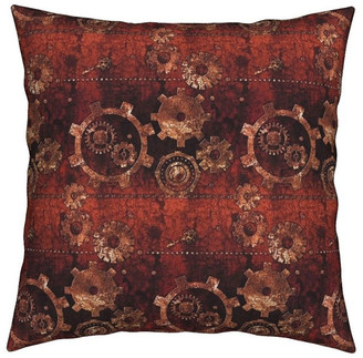 Rusty Roostery Steampunk Gears Vintage Abstract Throw Pillow Velvet