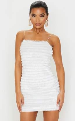 PrettyLittleThing White Fringed Detail Strappy Bodycon Dress