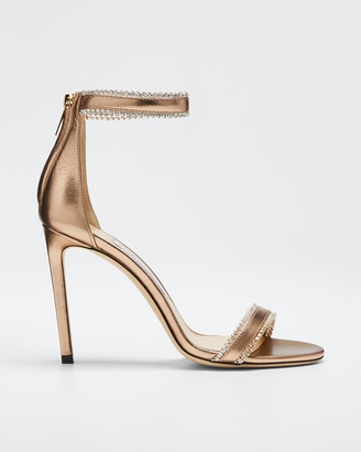 Jimmy Choo Dochas Jeweled Metallic Leather Sandals
