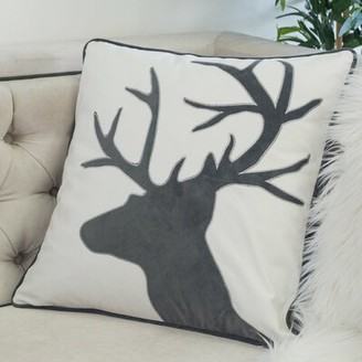 Calion Reindeer Shiny Linen Applique Square Velvet Throw Pillow Greyleigh Color: Red