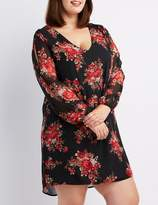 Charlotte Russe Plus Size Floral Split-Sleeve Shift Dress