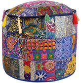 Embroidery Design Round Handmade Patchwork Ottoman Cover 18 X 18 X 14 Inches
