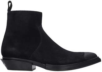 Balenciaga Santiag High Heels Ankle Boots In Black Suede