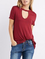 Charlotte Russe Keyhole Cut-Out Swing Top