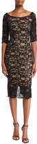 Jovani Velvet Lace Cocktail Sheath Dress, Black Nude