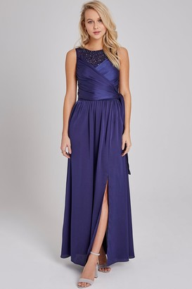 Little Mistress Bridesmaid Erin Navy Satin Hand-Embellished Maxi Dress