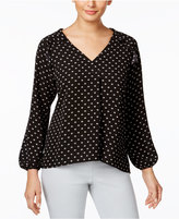 NY Collection Ruffled Dot-Print Blouse