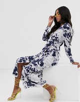 Asos Design DESIGN wrap maxi dress with buckle in abstract tie dye print