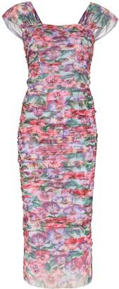 Dolce & Gabbana Pintucked Floral-Print Dress