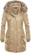 DJT Womens Winter Hooded Fur Collar Thick Padded Long Coat Outerwear Jacket S