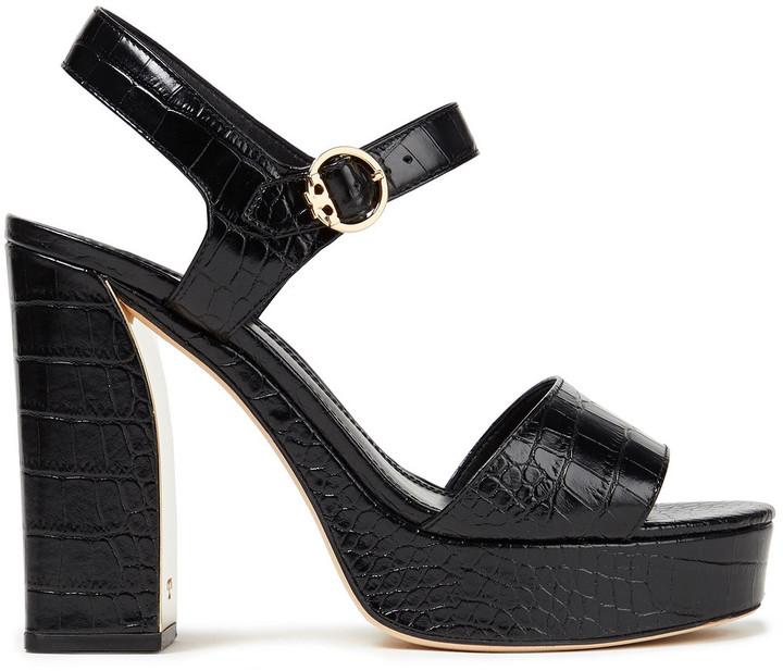 Tory Burch Martine Croc-effect Leather Platform Sandals