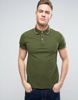 Tommy Hilfiger Tipped Pique Polo Slim Fit In Green