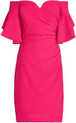 Badgley Mischka Off-the-shoulder Ruched Cloque Dress
