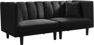 Corrigan Studio Fritch Velvet 73.62'' Sofa Bed Fabric: Black