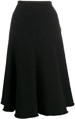 Thom Browne Flounce Skirt With Fray In Solid Eyelash Yarn Tweed