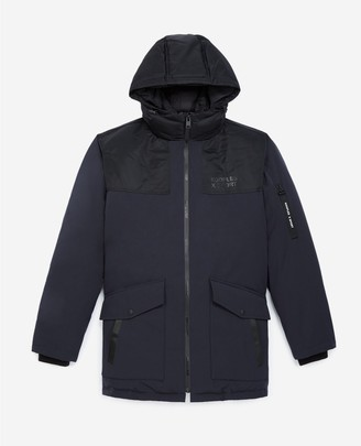 The Kooples Hooded black and navy blue parka