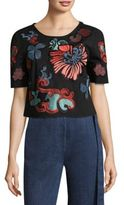 Josie Natori Embroidered Cotton Tee