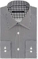 Sean John Classic/Regular Fit Men's Big and Tall Classic-Fit Black Houndstooth Dress Shirt