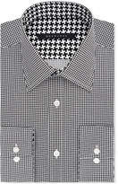 Sean John Classic/Regular Fit Men's Classic-Fit Black Houndstooth Dress Shirt