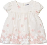 Mayoral White and Pink Floral Embroidered Tulle Dress