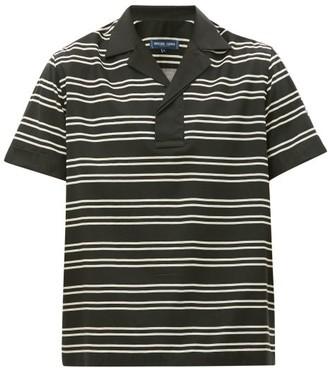 Frescobol Carioca Leblon Striped Cuban-collar Henley Shirt - Mens - Black