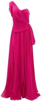Dundas One-shoulder Silk-georgette Gown - Pink