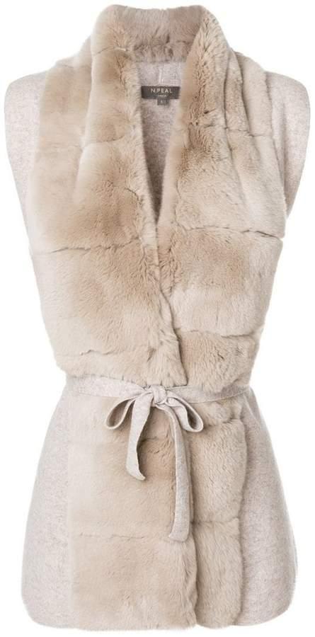 N.Peal fur placket cashmere gilet