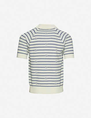Gucci Logo-print cotton and wool-blend polo shirt