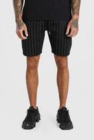 boohoo Mens Black MAN Pinstripe Jacquard Mid Length Shorts, Black