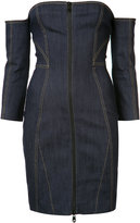 Cinq A Sept - strapless zipped denim dress - women - Cotton/Polyester/Spandex/Elastane - 2