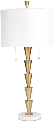 """Sagebrook Home Brass Stacked Cones Table Lamp Marble Base, Gold, 34"""""""