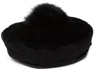 Eric Javits Tilda Genuine Fur Pompom Trim Beret