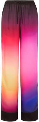 Mary Katrantzou Floral-print Burnout Satin-twill Wide-leg Pants