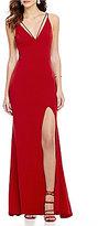 Jodi Kristopher Sleeveless Plunging V-Neck Long Dress
