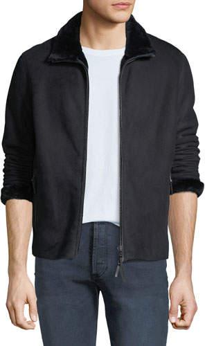 Emporio Armani Men's Shearling-Lined Suede Jacket