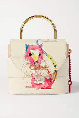 Chloé Aby Lock Small Printed Leather Shoulder Bag - White