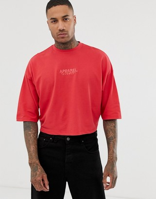 Asos Design DESIGN oversized crop t-shirt with city embroidery in pique-Red