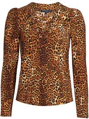 Generation Love Mandy Leopard Print Lace-Up Top