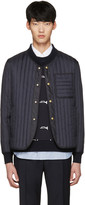 Moncler Gamme Bleu Navy Quilted Down Bomber Jacket