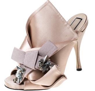 N°21 N21 Beige Satin Embellished Knot Mule Sandals Size 38