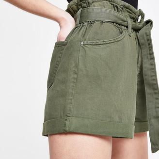 River Island Petite khaki paperbag denim shorts