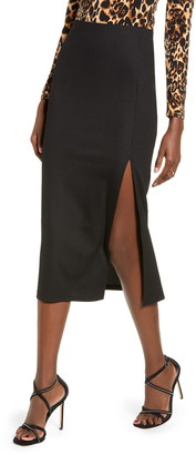 Leith Ribbed Side Slit Midi Skirt