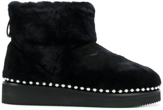 Alexander Wang Fur Boots With Studded Trim