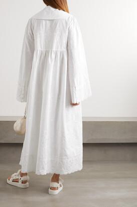 Simone Rocha Scalloped Embroidered Cotton-poplin Maxi Dress - White