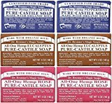 Dr. Bronner's Magic Soaps Pure-Castile Soap, All-One Hemp Peppermint, 5-Ounce Bars (variety pack) by