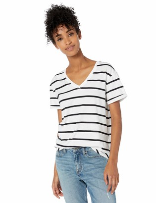 Goodthreads Washed Jersey Cotton Roll-sleeve V-neck T-shirt White Open Stripe US S (EU S - M)