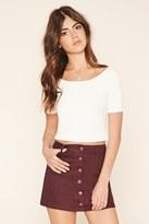 Forever 21 Button-Front Denim Mini Skirt