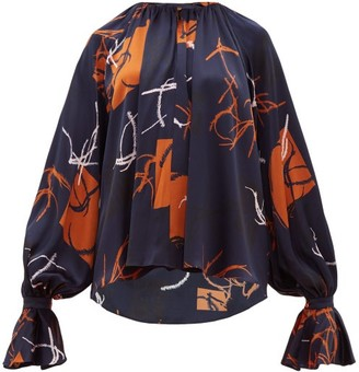 Roksanda Pia Abstract-print Silk-satin Blouse - Womens - Navy Multi