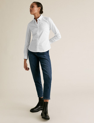 Marks and Spencer Cotton Rich Fitted Long Sleeve Shirt
